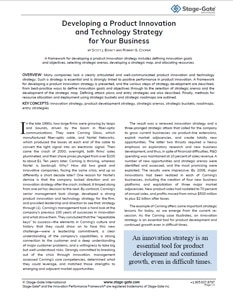 Developing a Product Innovation and Technology Strategy for Your Business
